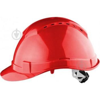 Каска защит (HDPE).красн, с вентил., храповиком,отвор для наушников/SAFE-GUARD