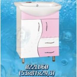18079 Тумба Волна розовая (53см.), 2 шухляди умывальник Libra 60см