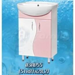 18236 Тумба Волна розовая (50см.) умывальник Аква 55см