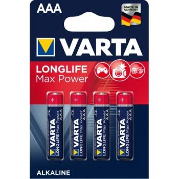 Батар. Varta Max T./Longlife Max Power AAA BLI 4 Alkaline(4703), блистер
