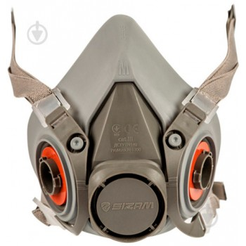 Полумаска серая ТПЭ + ABS, крепления на голове в 4-х точках, размер М / PROMASK M 6200